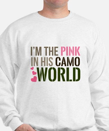 Im the Pink in his Camo World Jumper