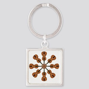 Circle of Violins Square Keychain