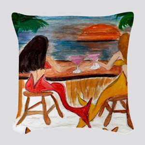 Martini Mermaids Woven Throw Pillow