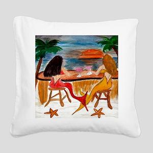 Martini Mermaids Square Canvas Pillow