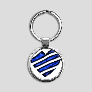 Blue stripes Heart Round Keychain
