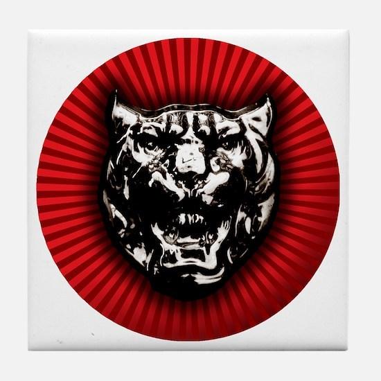 Vintage style Jaguar head emblem Tile Coaster