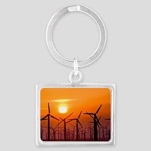 Wind turbines at sunset Landscape Keychain