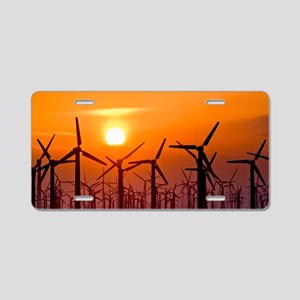 Wind turbines at sunset Aluminum License Plate
