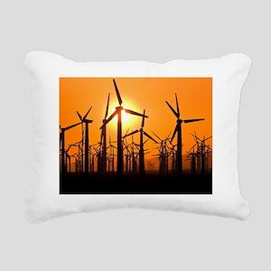 Wind turbines at sunset Rectangular Canvas Pillow