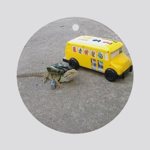 Spiny the Lizard back to school Round Ornament