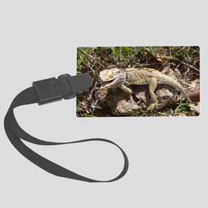 Spiny the Lizard Smiling Large Luggage Tag