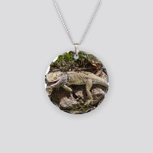 Spiny the Lizard Smiling Necklace Circle Charm
