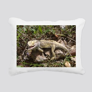 Spiny the Lizard Smiling Rectangular Canvas Pillow