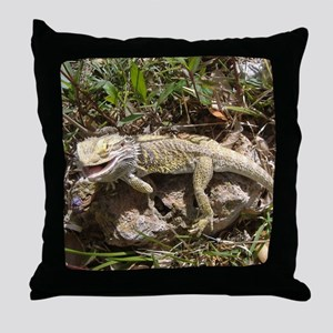 Spiny the Lizard Smiling Throw Pillow