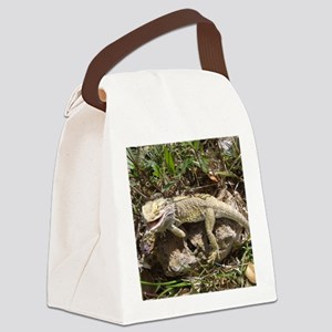 Spiny the Lizard Smiling Canvas Lunch Bag