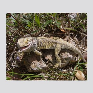 Spiny the Lizard Smiling Throw Blanket