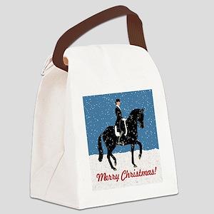 Snowy Dressage Horse Christmat Canvas Lunch Bag