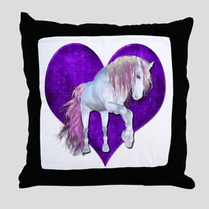 Purple Heart Unicorn Throw Pillow