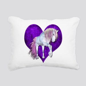 Purple Heart Unicorn Rectangular Canvas Pillow