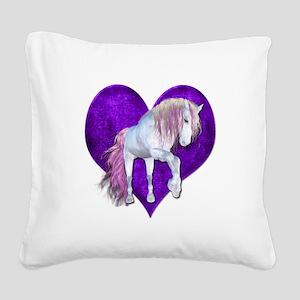 Purple Heart Unicorn Square Canvas Pillow