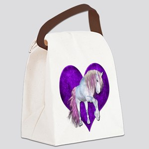 Purple Heart Unicorn Canvas Lunch Bag