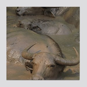 Water buffaloes wallowing in pond Tile Coaster