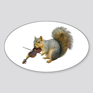 Squirrel Violin Sticker (Oval)