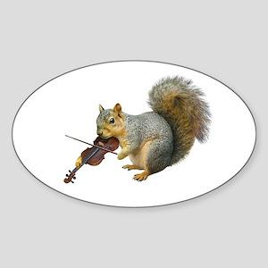 Squirrel Violin Sticker (Oval)
