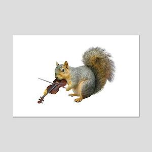 Squirrel Violin Mini Poster Print