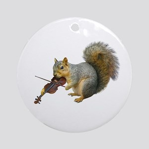 Squirrel Violin Ornament (Round)