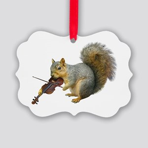 Squirrel Violin Picture Ornament
