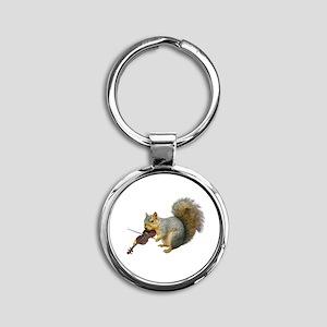 Squirrel Violin Round Keychain