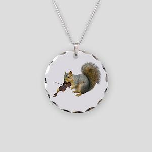 Squirrel Violin Necklace Circle Charm