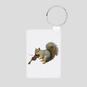 Squirrel Violin Aluminum Photo Keychain
