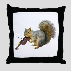 Squirrel Violin Throw Pillow