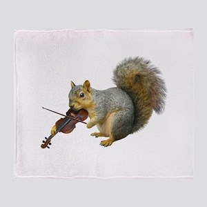 Squirrel Violin Throw Blanket