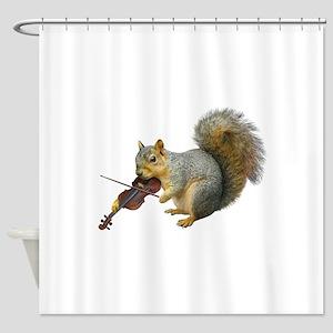 Squirrel Violin Shower Curtain