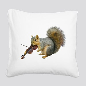Squirrel Violin Square Canvas Pillow