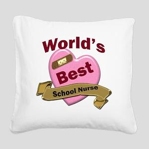 Worlds Best School Nurse Square Canvas Pillow
