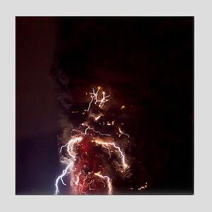 Volcanic lightning, Iceland, April 20 Tile Coaster