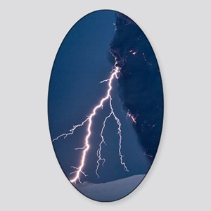 Volcanic lightning, Iceland, April  Sticker (Oval)