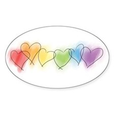 Watercolor Rainbow Hearts Oval Sticker