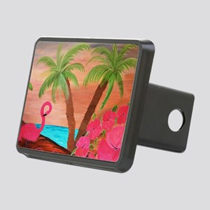Flamingo in paradise Rectangular Hitch Cover