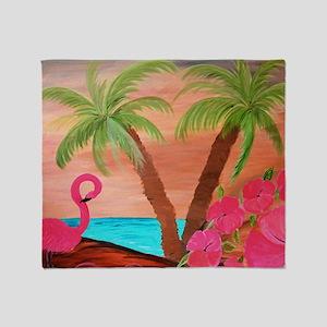 Flamingo in paradise Throw Blanket