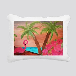 Flamingo in paradise Rectangular Canvas Pillow