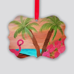 Flamingo in paradise Picture Ornament