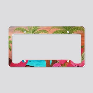 Flamingo in paradise License Plate Holder