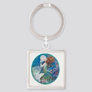 Art Deco Fantasy Pearl Mermaid Square Keychain