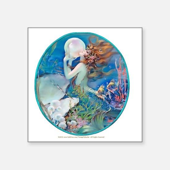 """Art Deco Fantasy Pearl Merm Square Sticker 3"""" x 3"""""""