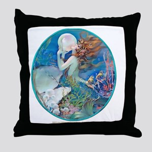 Art Deco Fantasy Pearl Mermaid Throw Pillow