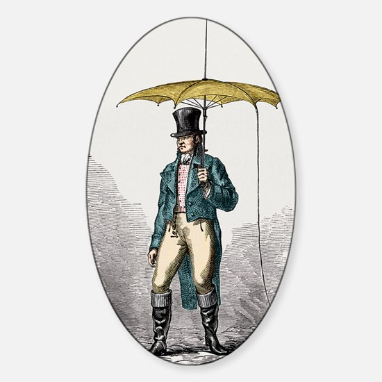 Umbrella fitted with lightning cond Sticker (Oval)