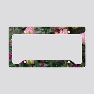 Tulip and honesty flowers License Plate Holder