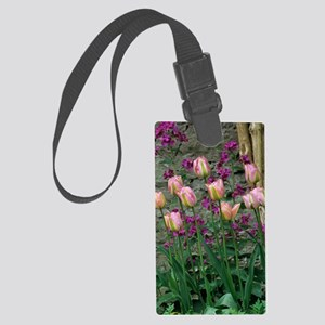 Tulip and honesty flowers Large Luggage Tag