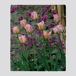 Tulip and honesty flowers Throw Blanket